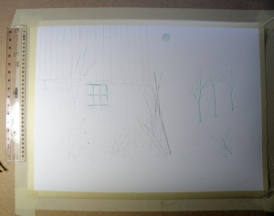 The initial drawing and selective masking of 'Winter Barn'