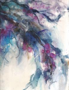 Winters Chill 12 x 9 Watercolours Collage Mixed Media Original -